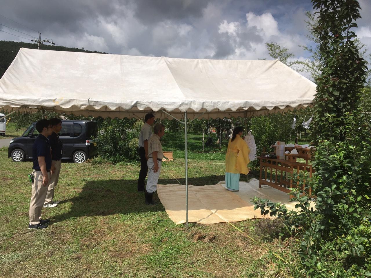 飯綱町 T様邸 地鎮祭 リンゴ畑に囲まれて!